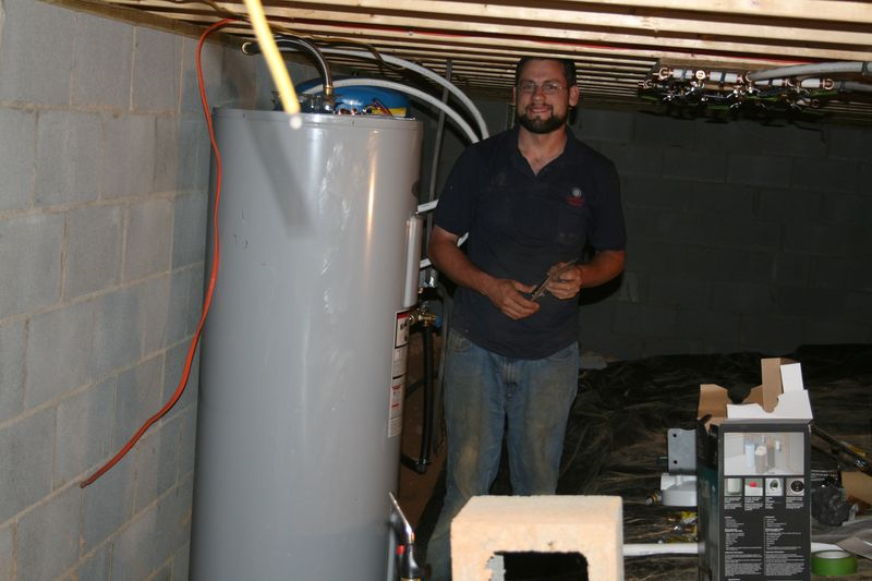 Working on the water heater