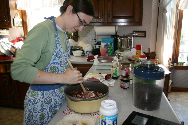 Sarah making fudge