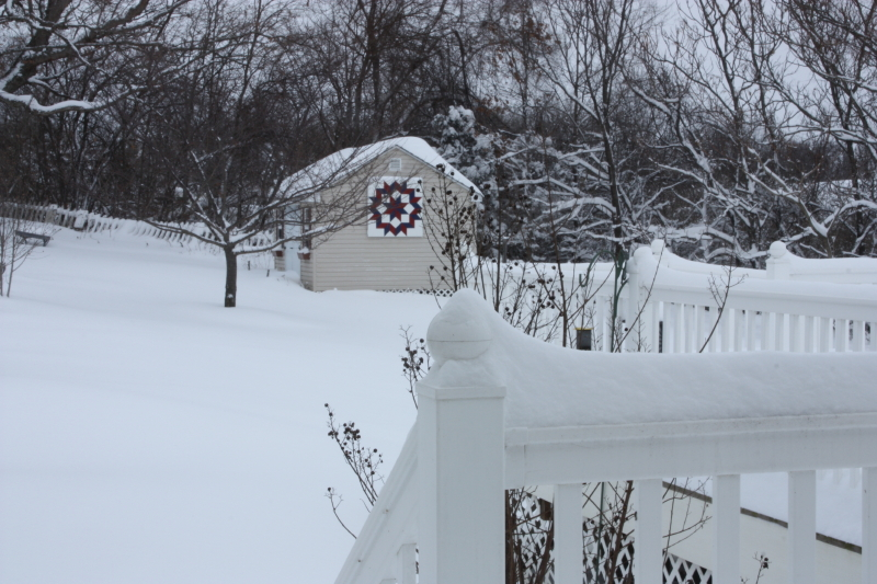 Barn quilt in the snow