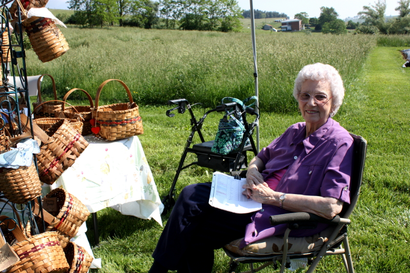 Granny with her baskets at Polyface