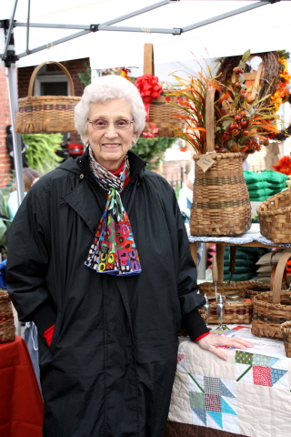 Granny is always in her element selling baskets!