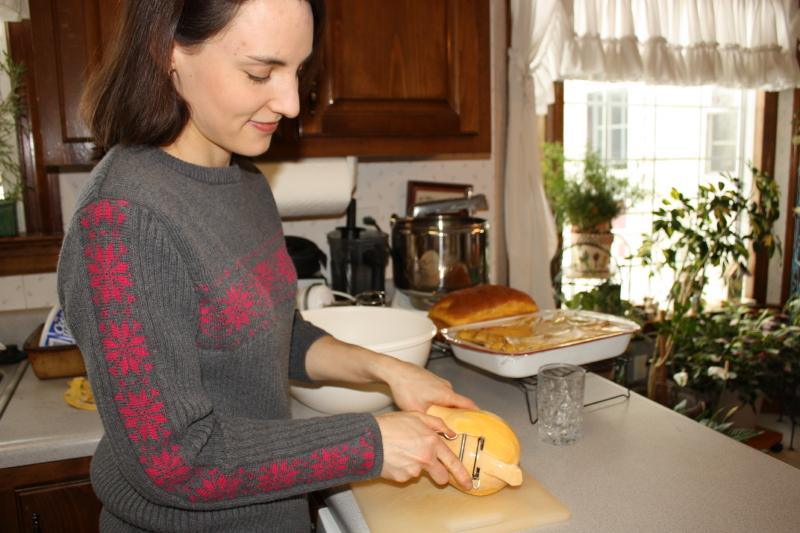 Hannah peeling the squash