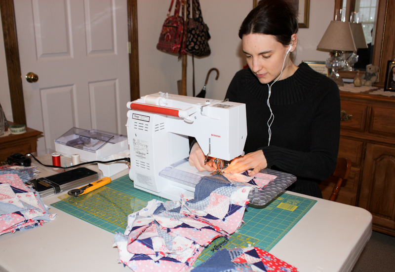Hannah working on picnic quilt
