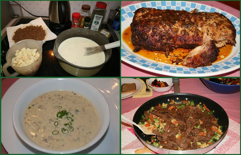 Left top and bottom: Sausage and Corn Chowder. Right Top: Parmesan Honey Pork Roast. Right bottom: Beef Stir Fry/Fried Rice