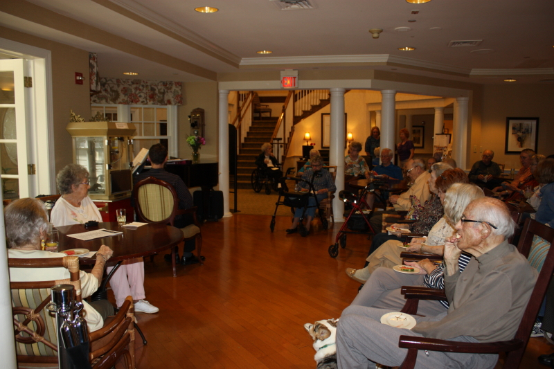 residents gathered in anticipation of the music