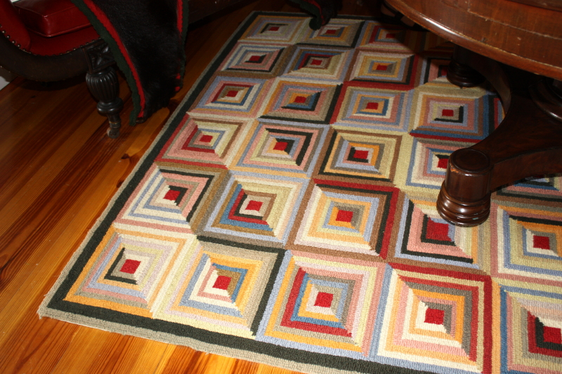log cabin quilt style rug