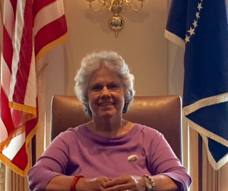 Deb in President's Chair
