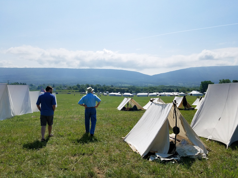 surveying the Union encampment