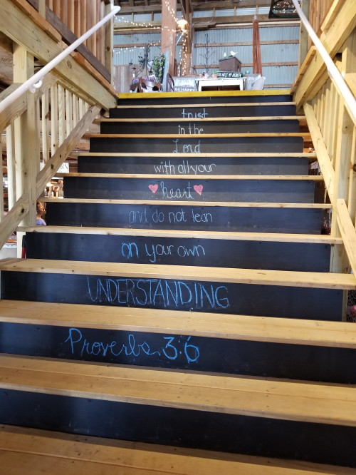 Scripture steps at The Barn