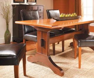 Slide out trestle dining table - Photo Courtesy of Woodsmith Magazine