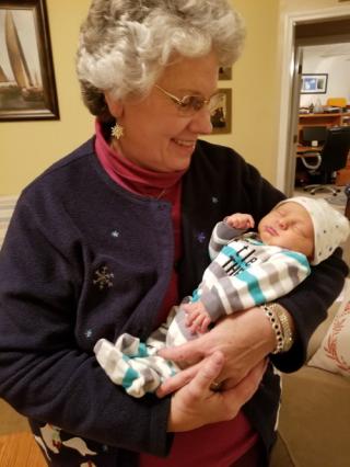 Granny Deb holding grandson