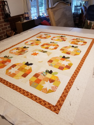 pumpkin quilt ready for pinning