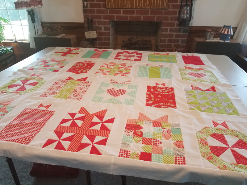 Handmade with Love quilt laid out