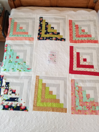 Quilt blocks on Granny's bed