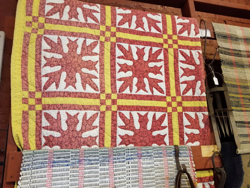 striking red antique quilt