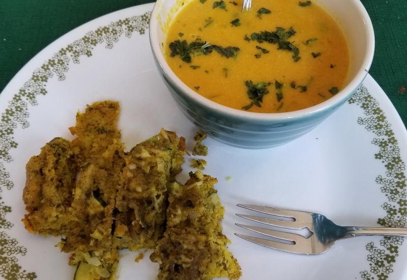Butternut squash soup, zucchini squares