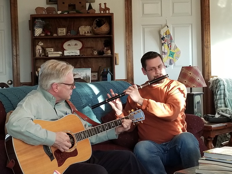 Tom and Jonathan playing music on a Sunday evening