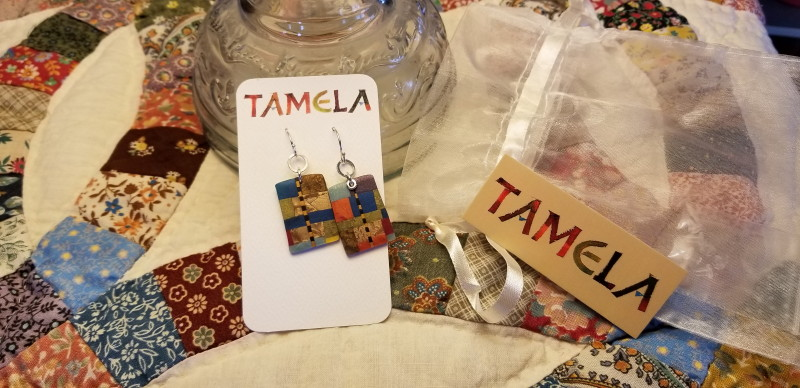Tamela Wells jewelry. Table topping quilt from Verona Antique Mall