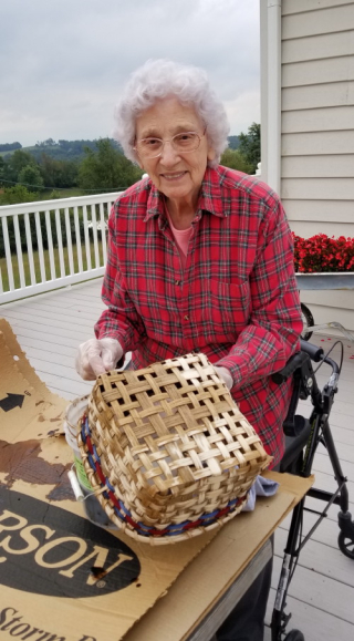 Granny staining a napkin basket ~ Sept 2019