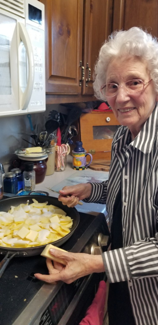 Granny peeling apples on April 20, 2020