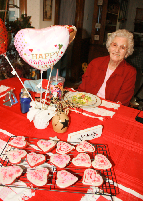 Granny, table, valentines cookies