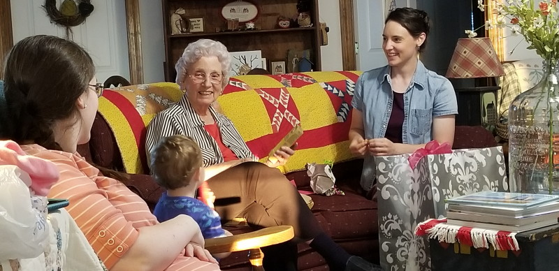 Great Granny opening gifts