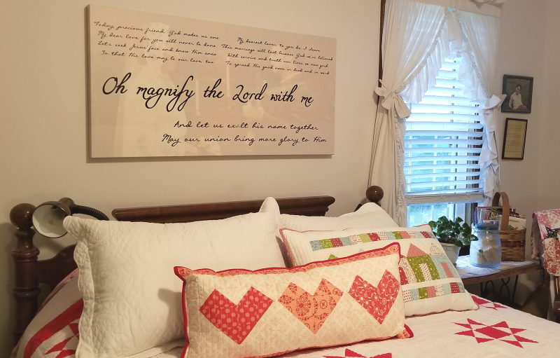 "Wedding song canvas, ""Oh Magnify the Lord With Me"""