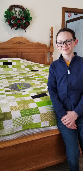 Green quilt with an E!