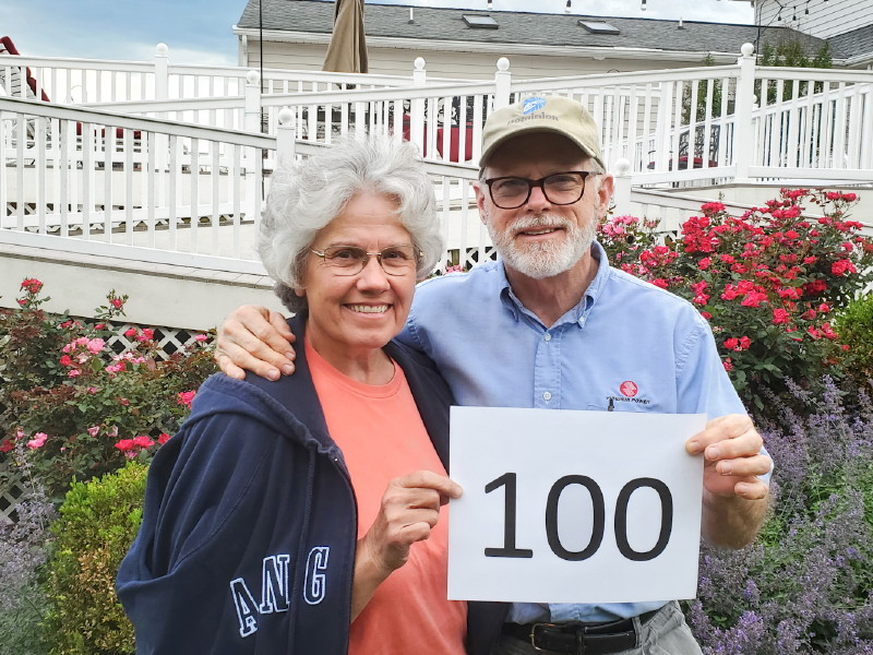 Deb & Tom completed walking 100 miles in the Spring 100